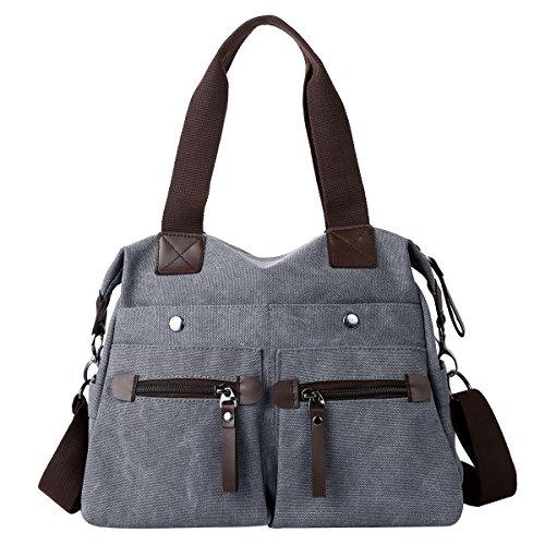 6e4282514007c Eshow Handtasche Schultertasche für Damen kleine Nylon Schultertasche  Handtasche Umhängetasche Damen Schwarz Grau
