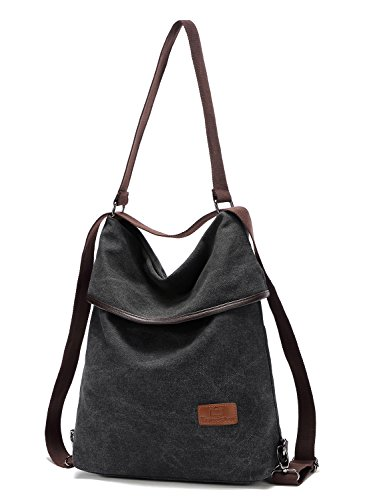 d954eef5c3381 Travistar Damen Canvas Schultertasche Rucksack Groß Handtasche Vintage ...